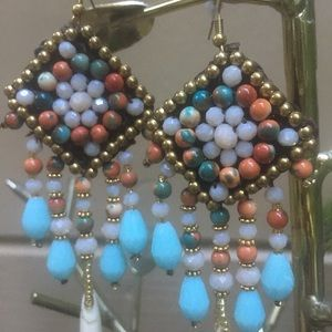Jewelry - Stunning Beaded Boho Chandelier Earrings - NWT